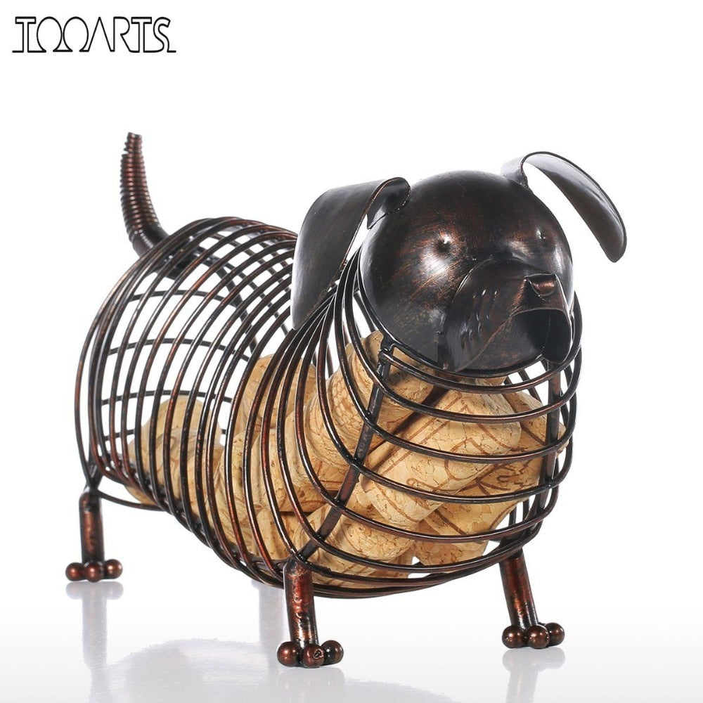 Tooarts Metal Animal Figurines Dachshund Wine Cork Container Modern Artificial Iron Craft Home Decoration Accessories Gift - Smoulder Products