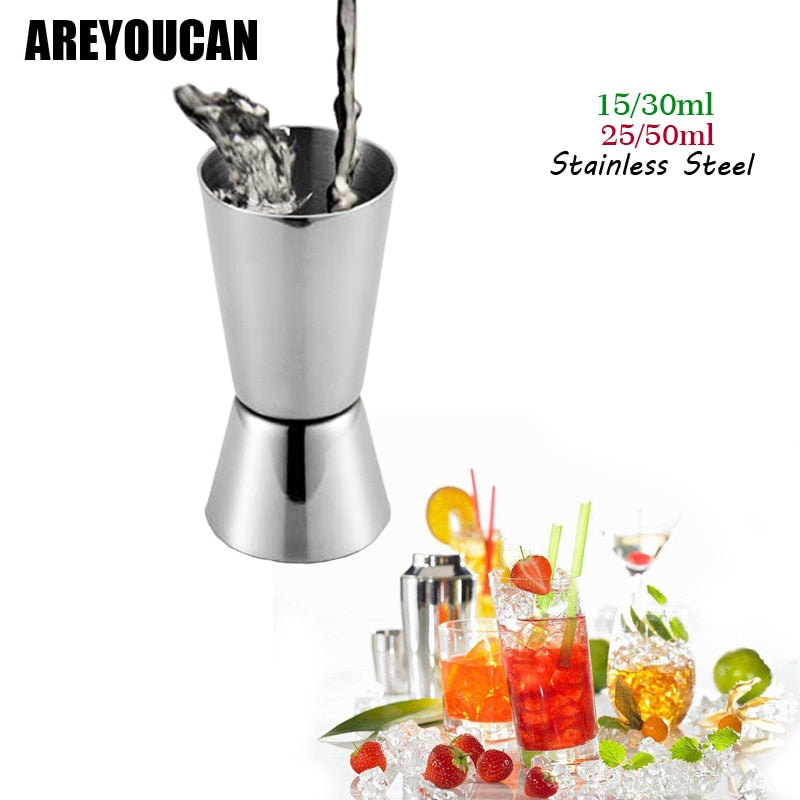AREYOUCAN New Arrival 15-30ml 25-50ml Double End Jigger Shot Measure Cup Cocktail Drink Wine Shaker Stainless Bar Accessories - Smoulder Products
