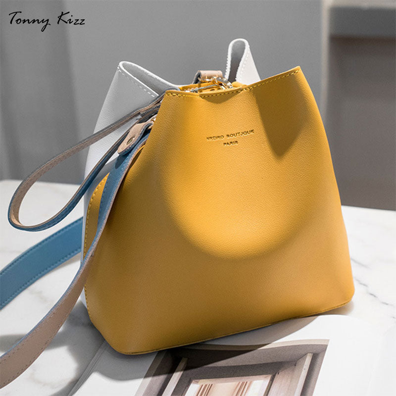 Tonny Kizz panelled bags for women shoulder handbag leather female crossbody bags large capacity ladies hand bags yellow color - Smoulder Products