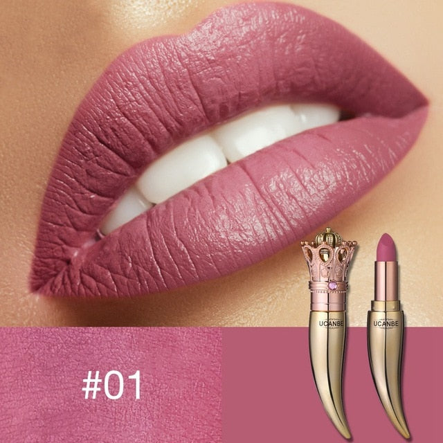 UCANBE Brand Crown Velvet Matte Lipstick Makeup Golden 5 Color Nude Long Lasting Pigment Lips Stick Natural Cosmetic Lip Rouge - Smoulder Products