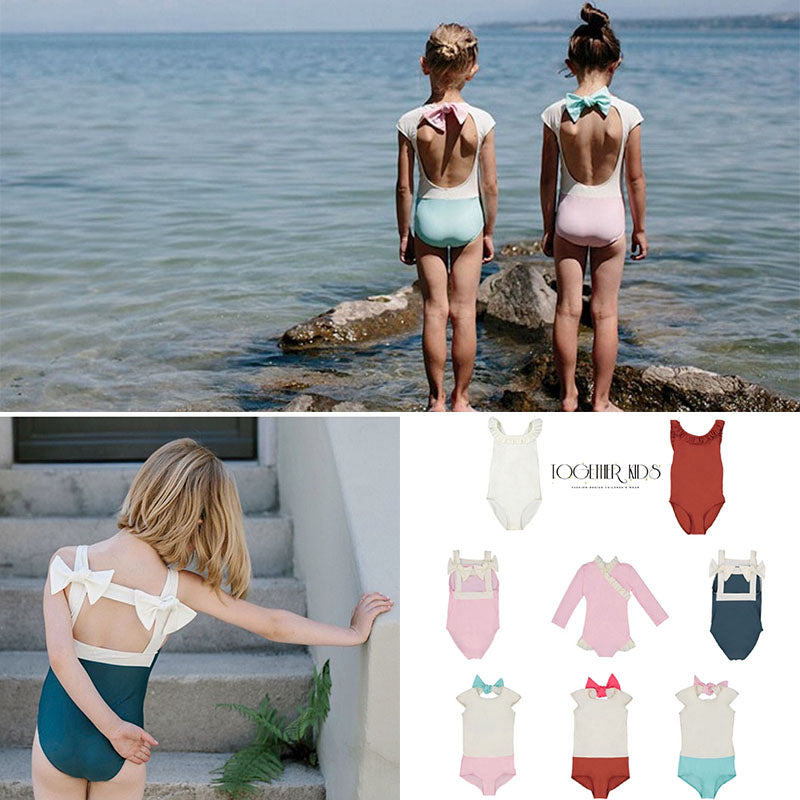 Toddler Girls Sweet Swimming Suits Baby Hawaii Clothes Kids Girls Bow Tie Swimwear Children Brand Swimsuits Cute Girl Swimwear - Smoulder Products