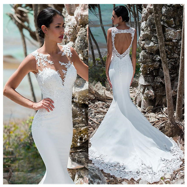 Mermaid Wedding Dress Sleeveless Lace Appliqued Illusion Back Boho