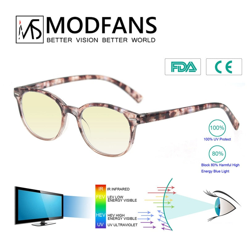 Anti Blue Light Filter Computer Gaming Glasses men women Round Anti Blue Ray Anti Radiation Blue Light Blocking Reading Glasses - Smoulder Products