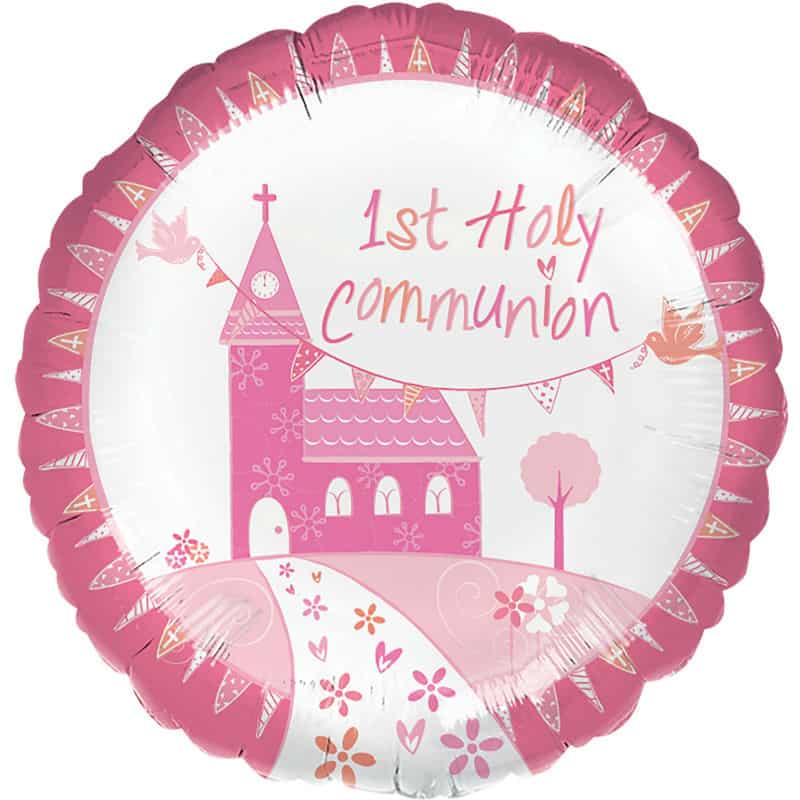 First Communion Pink Balloon & Swizzels Gift Set