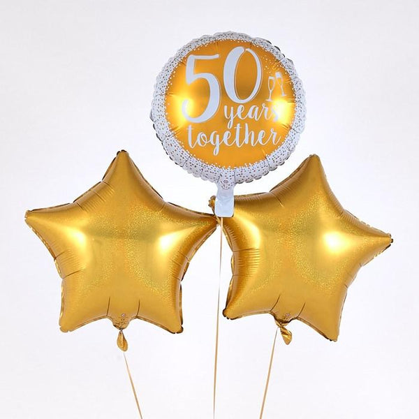 """50 Years Together"" Golden Wedding Balloon Bouquet"