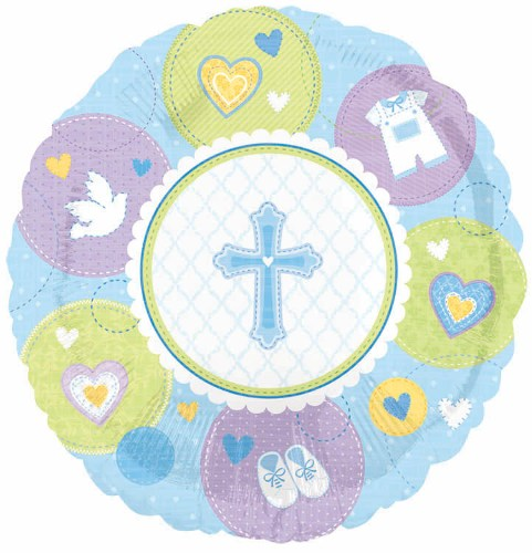 Sweet Christening Boy Foil Balloon 18 in