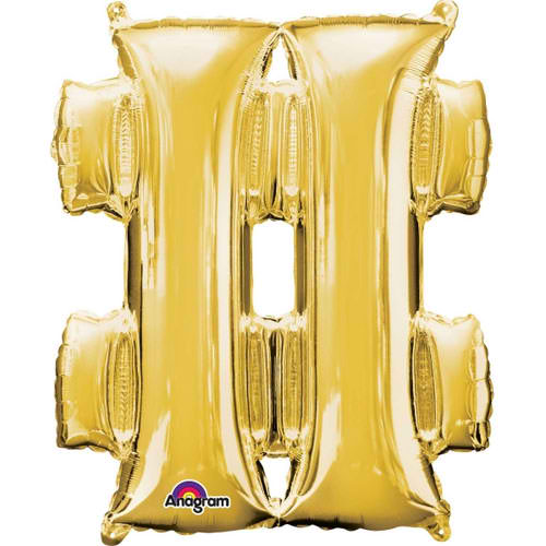 Symbol # Gold SuperShape Foil Balloon