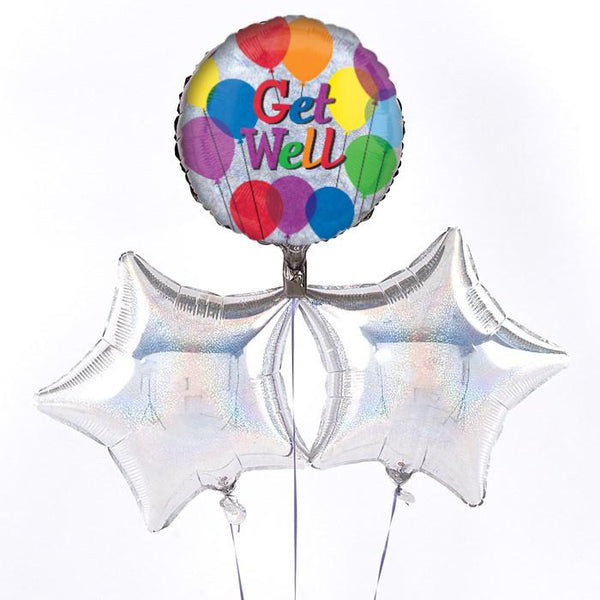 Get Well Holographic Balloon Bouquet