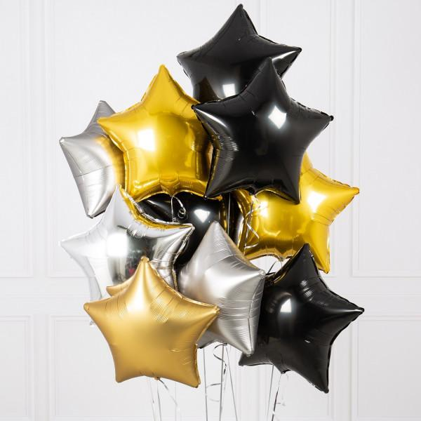 Ten Glitz and Glam Stars Foil Balloons