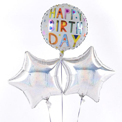 Happy Birthday Square Text Silver Balloon Bouquet