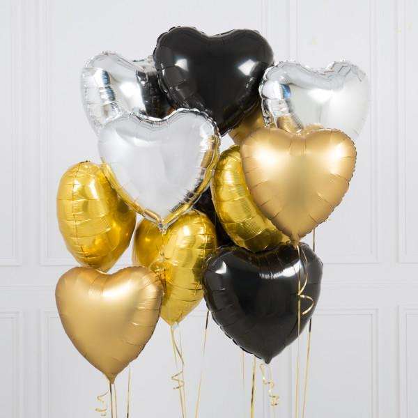 One Dozen Glitz and Glam Hearts Foil Balloons