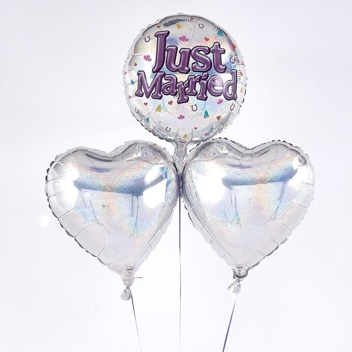 """Just Married"" Circle Romantic Balloon Bouquet"