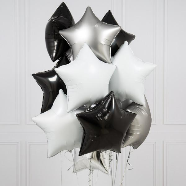 Ten Monochrome Stars Inflated Foil Balloons