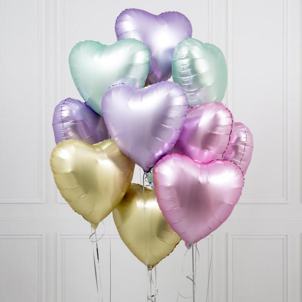 One Dozen Easter Hearts Foil Balloons