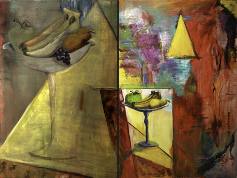 Conundrum by Yvonne Callaway Smith. A collage of images including a plate of fruit and bananas.