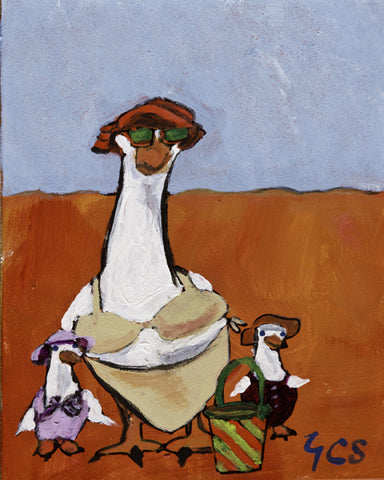 Mother Gooose at the Beach by Yvonne Callaway Smith. Comical image of a mother goose in a bikini, sunhat and sunglasses with two of her chicks in bathing suits and sunhats.