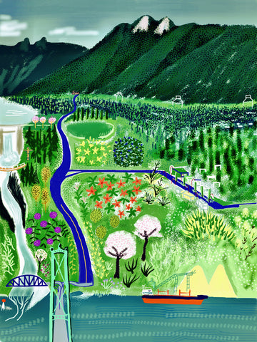 Capilano by Ryan Nickerson. A green meadow with a blue road. Water in the foreground and mountains in the background.