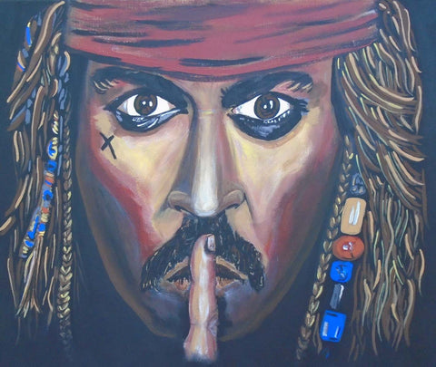 Portrait painting of Jack Sparrow from the movie Pirates of the Caribbean.