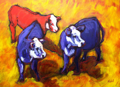 Cows on Crush by Nancy Ruhl. Image of three cows, two blue and one red, with an orange background.