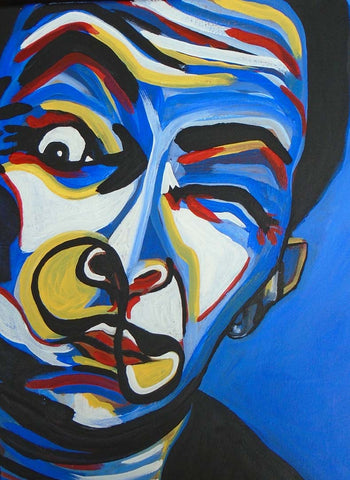 Colourful portrait of Salvador Dali.
