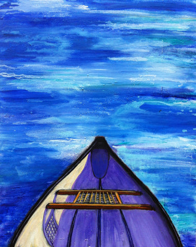 Drifting by Nancy Ruhl. Image of blue water with tip of a canoe.