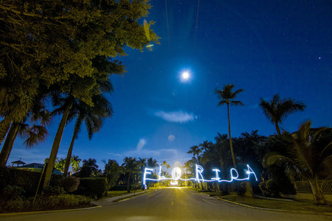 Florida by Barry Khan. Colour photograph of roadway with palm trees at night. The word Florida written across.