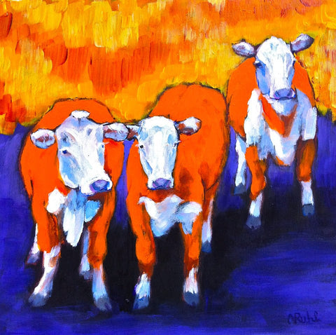 Grazing in Technicolour by Nancy Ruhl. Image of three orange cows with an orage and blue background