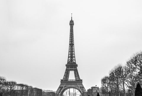 La Tour Eiffel by Barry Khan. Black and white photograph of the Eiffel Tower.