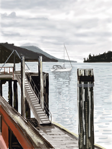 Long Bay on Gambier by Ryan Nickerson. Image of sailboat in the bay with a pier in the foreground an mountains in the background. the colour palette is greys, blues and earth tones.