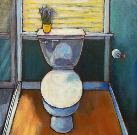 Reflections by Nancy Ruhl. Image of a restroom with toilet.