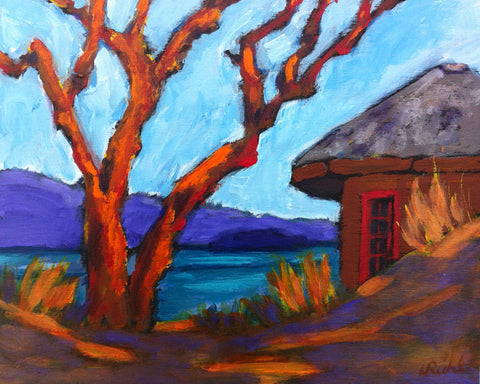 The Neighbour's Shed by Nancy Ruhl. Image of shed and bare tree.