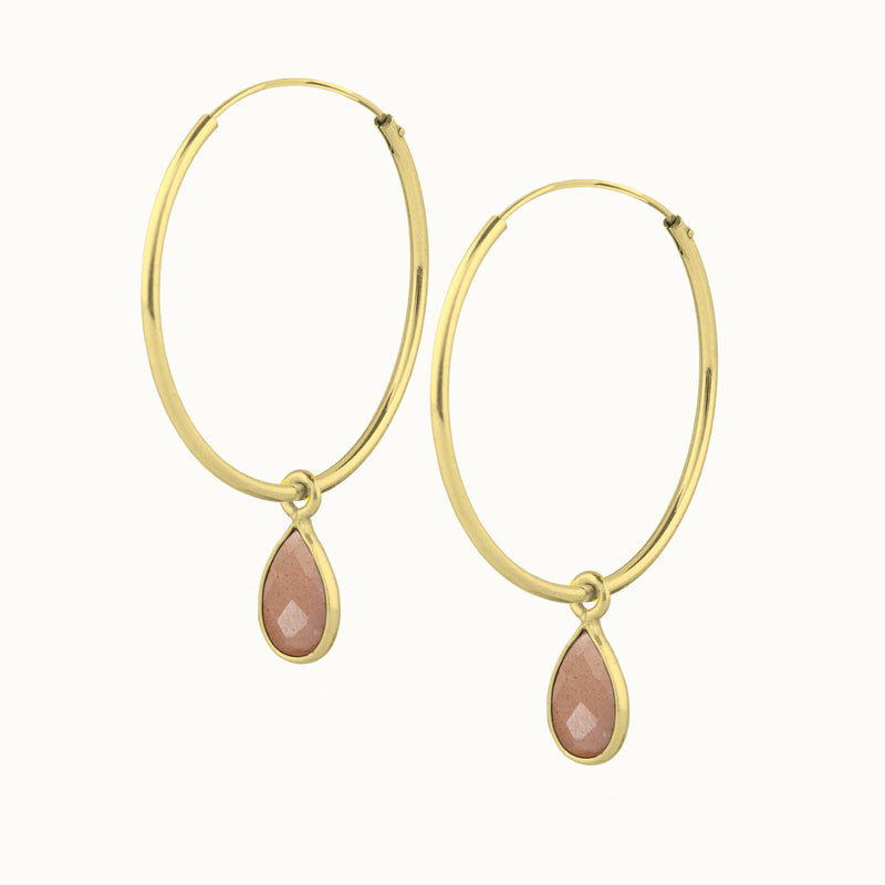 SOL DROPS Peach Mondstein - big hoops golden