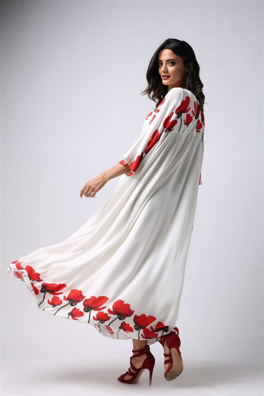 Nightgown - Red Tulip - Empire Seam Cut