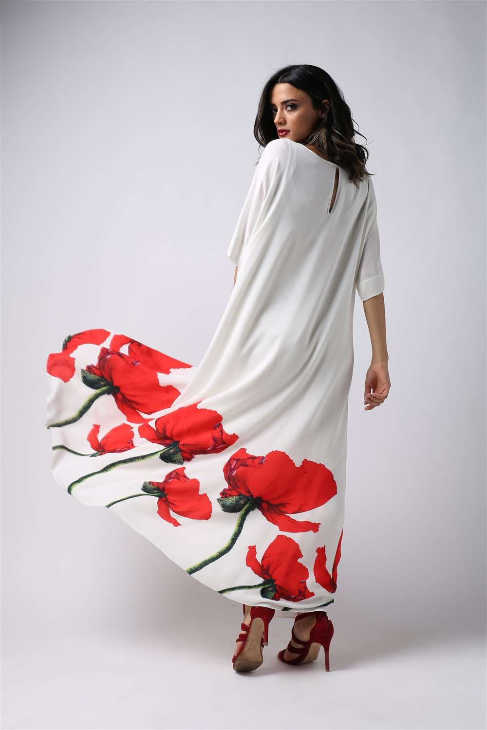 Nightgown - Red Tulip - Embroidered