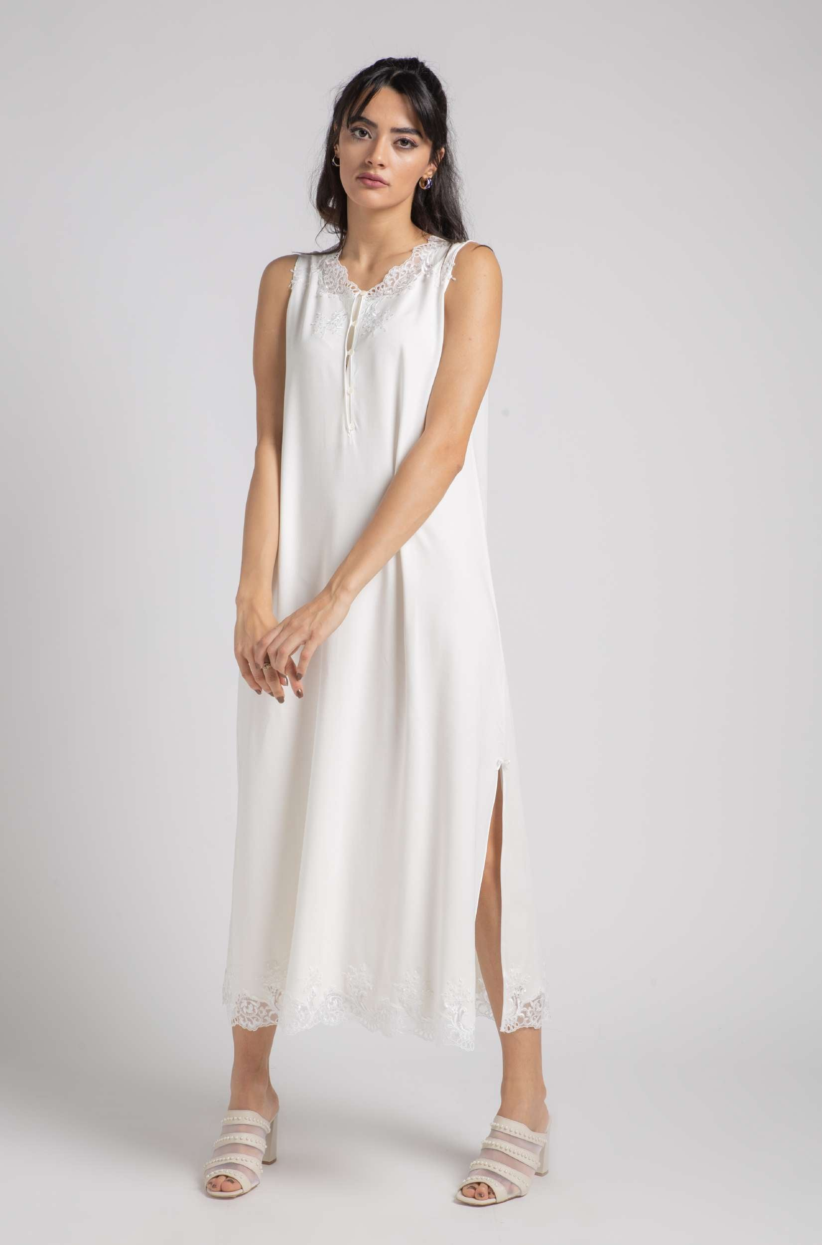 Cotton Nightie - Off White Luna