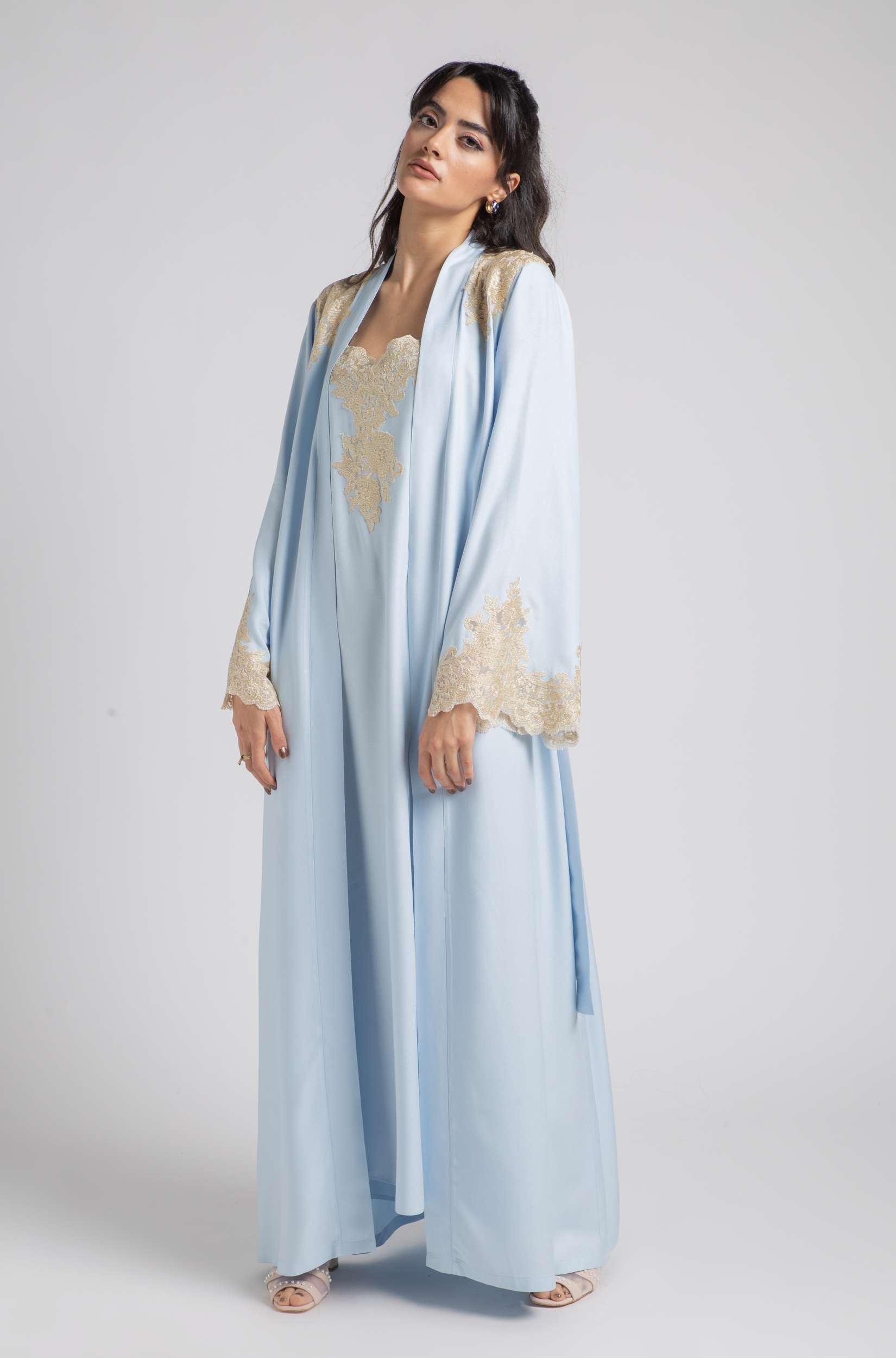 Robe Set - Baby Blue Golden Spring
