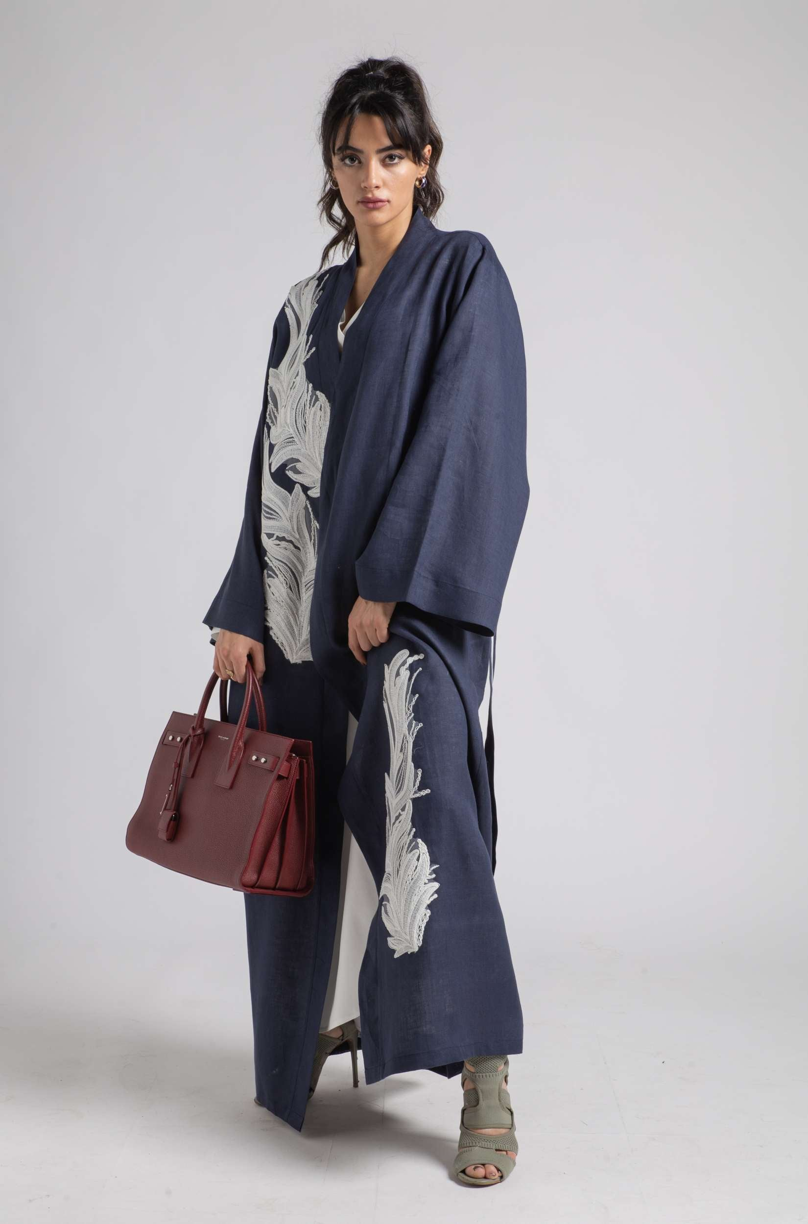 Linen Kaftan Set - Navy Blue Leaves