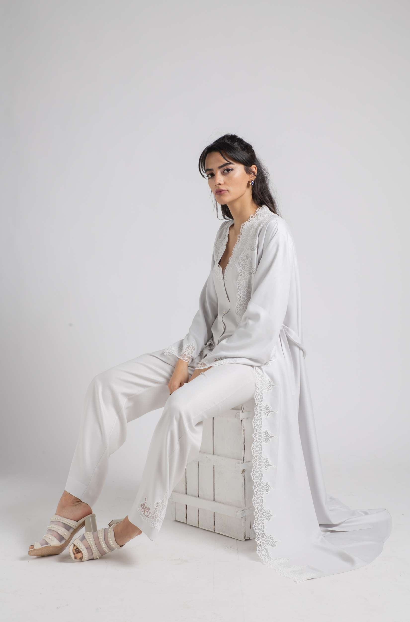 Pajama Set - Light Grey Luna - Off White