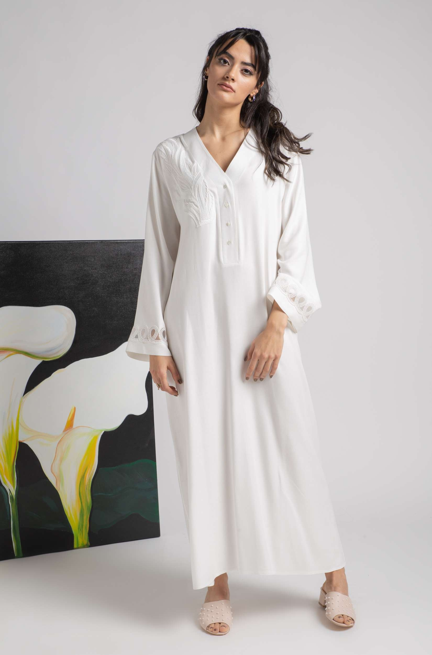 Nightgown - Off White Buttoned Leaves