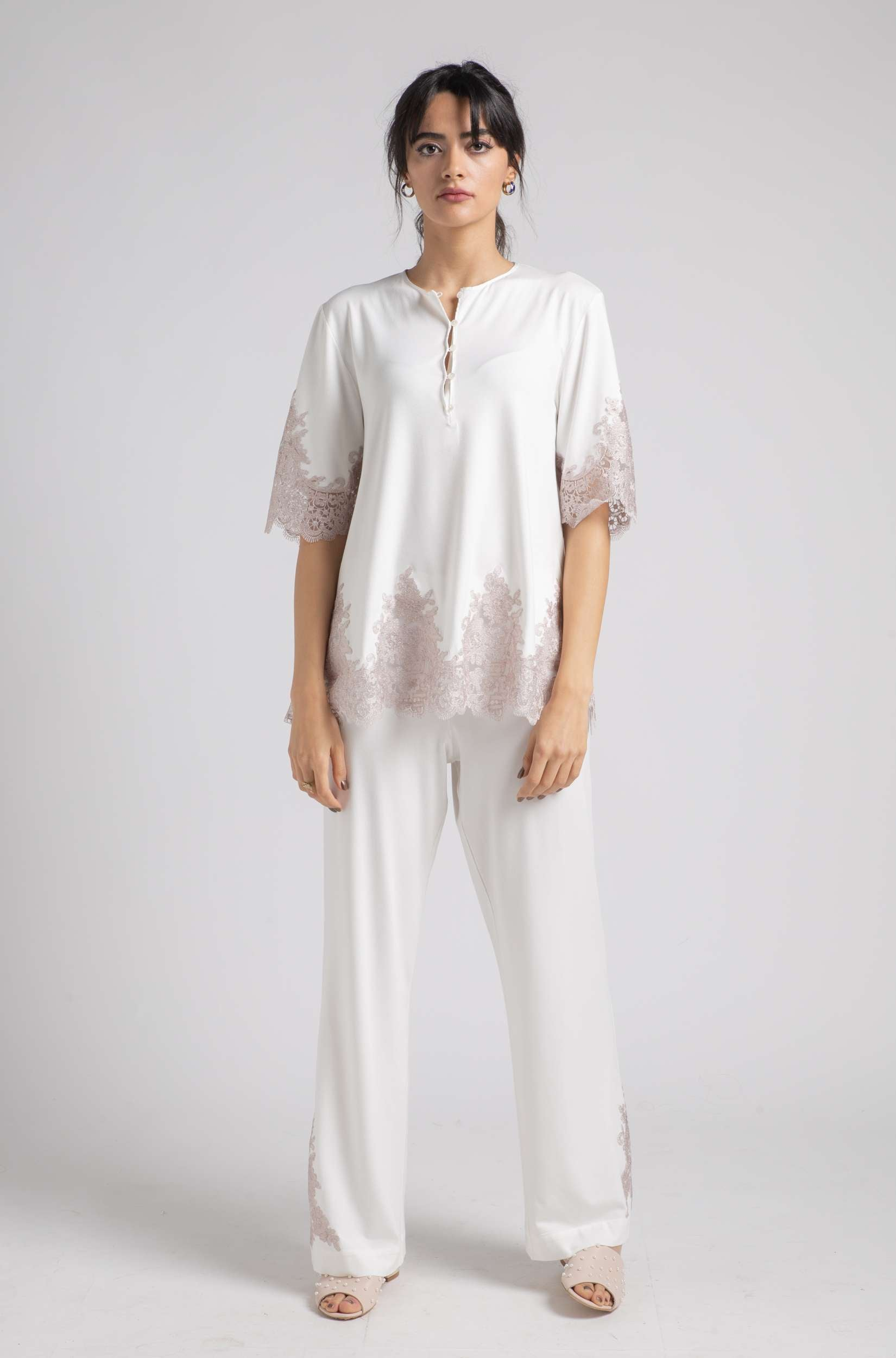 Cotton Pajama - Off White Spring - Powder