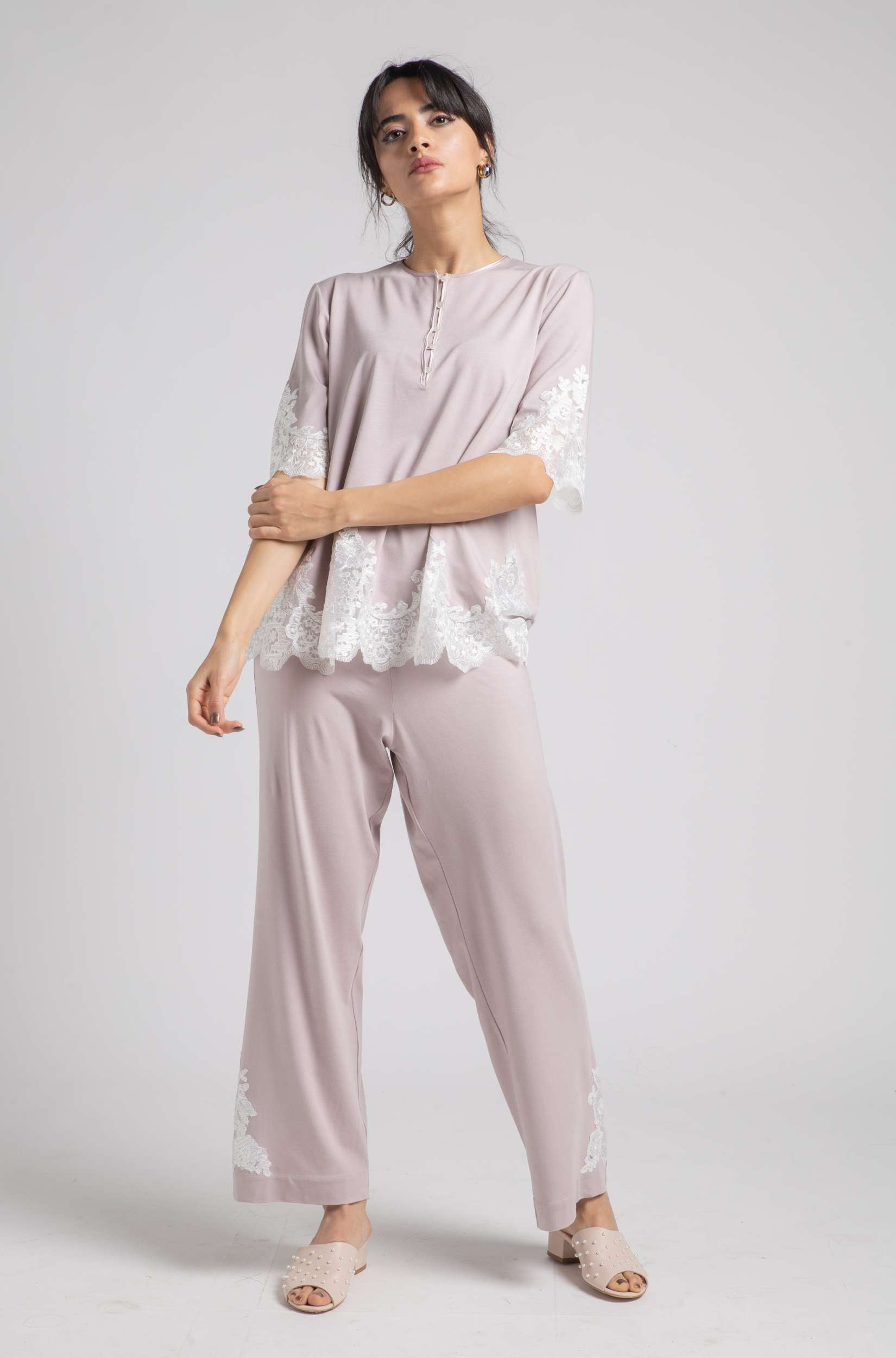 Cotton Pajama - Powder Spring - Off White