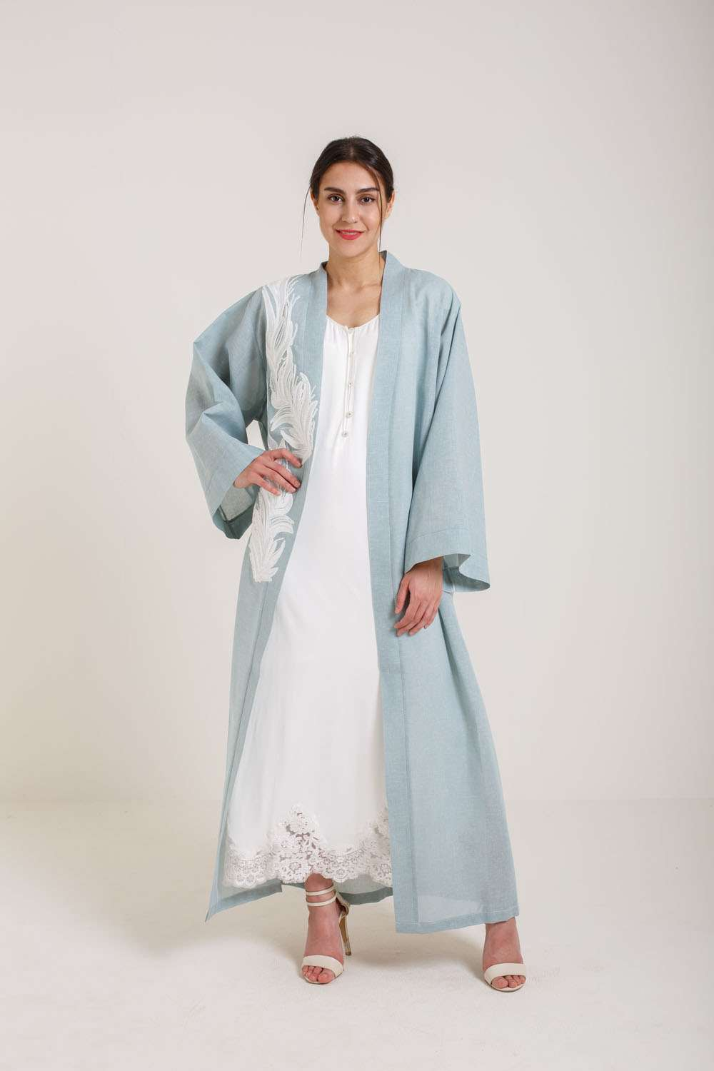 Linen Kaftan Set - Eau De Nile Leaves