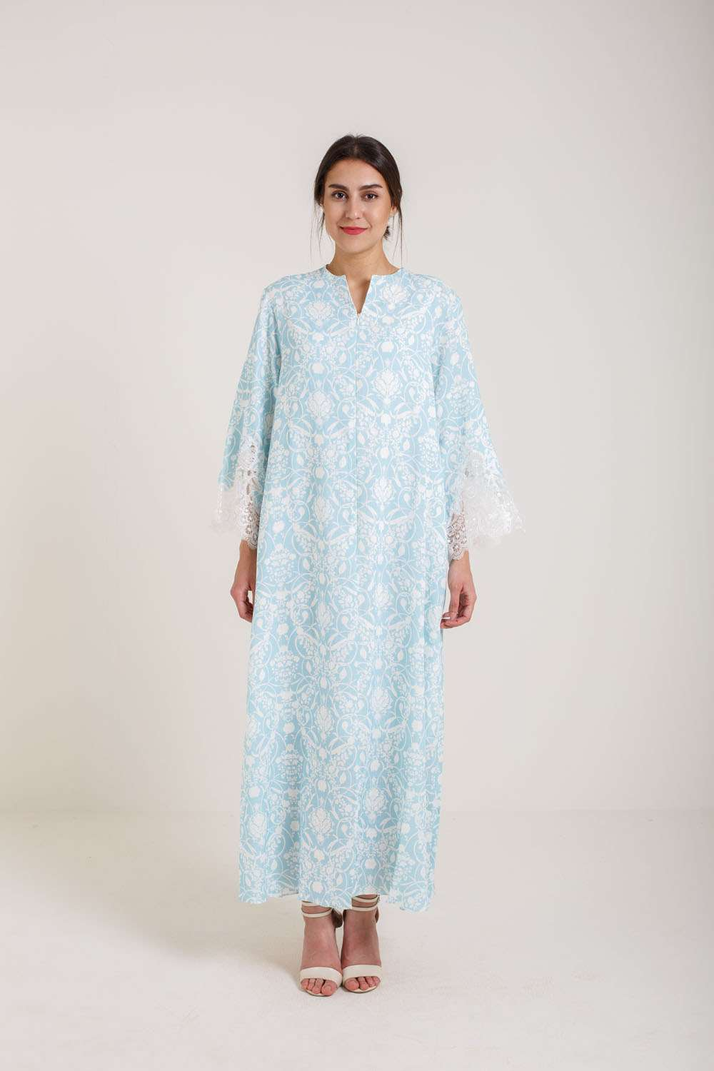 Linen Zippered Nightgown - Turquoise
