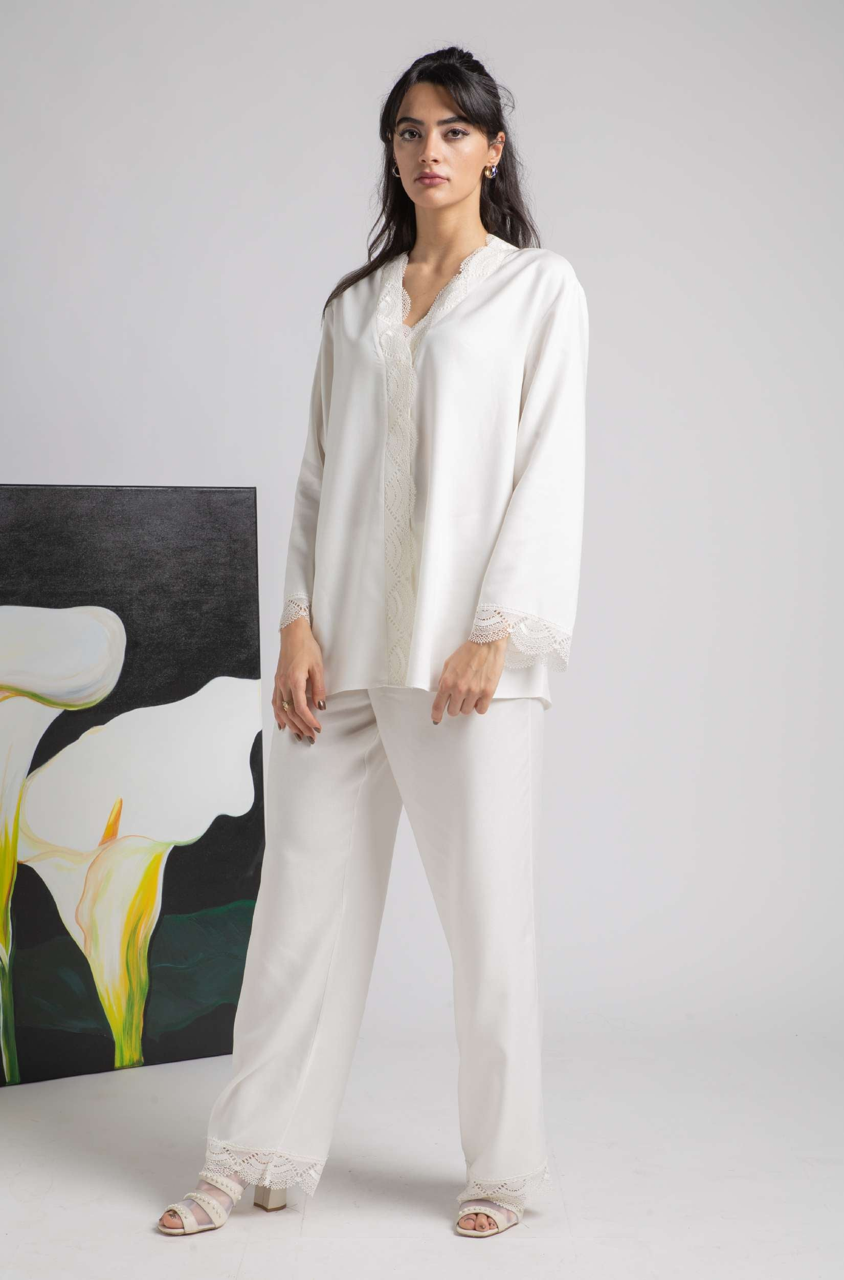 Pajama Set - Off White Lucy
