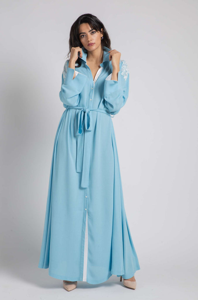 Rayon Nightgown Blue Printed - Belted Skylar