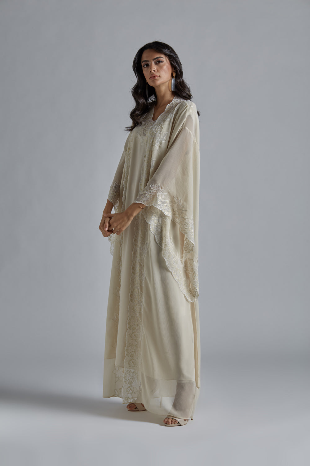 Silk Chiffon Honey Robe Set - Miel in Gold