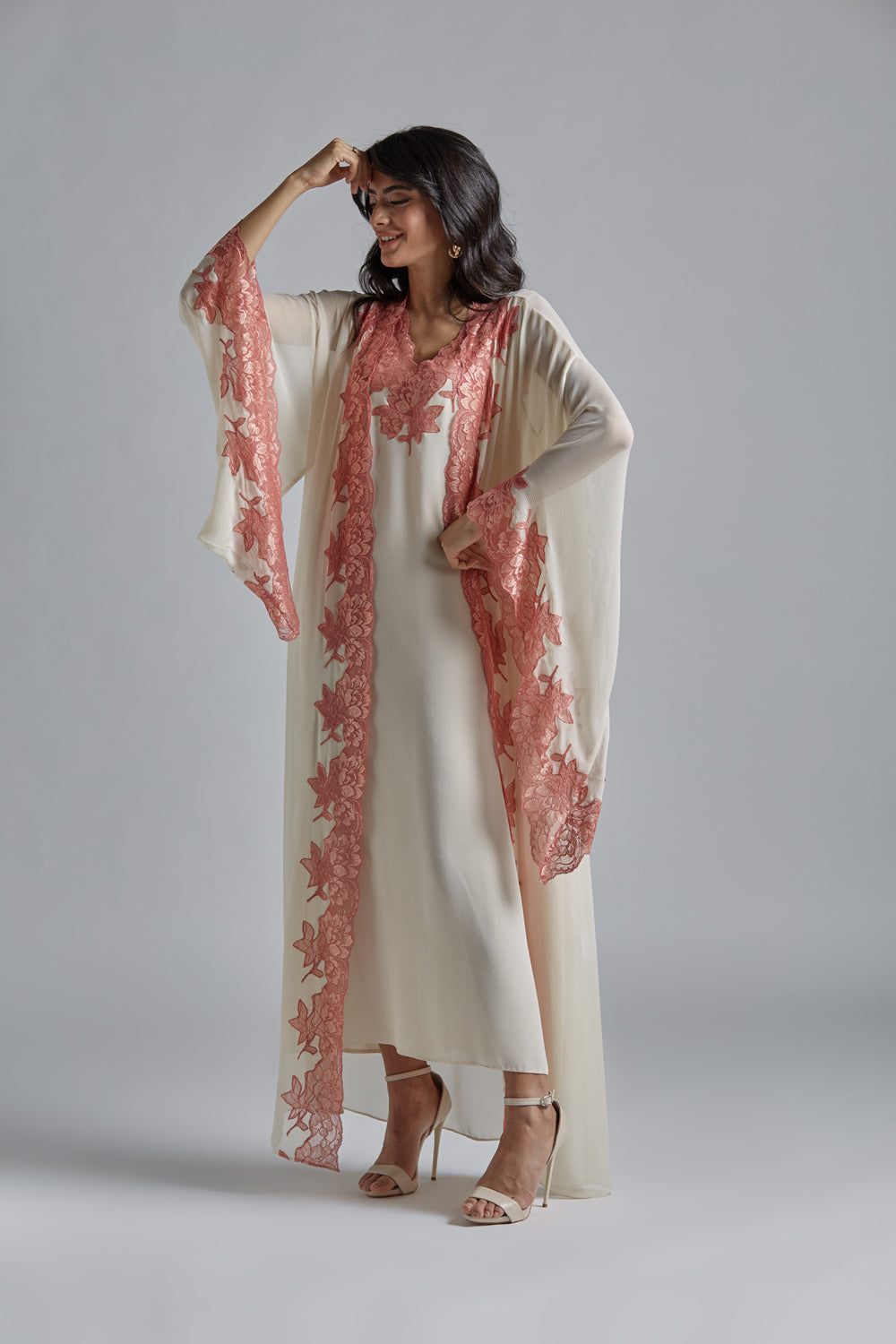 Silk Chiffon Honey Robe Set - Miel