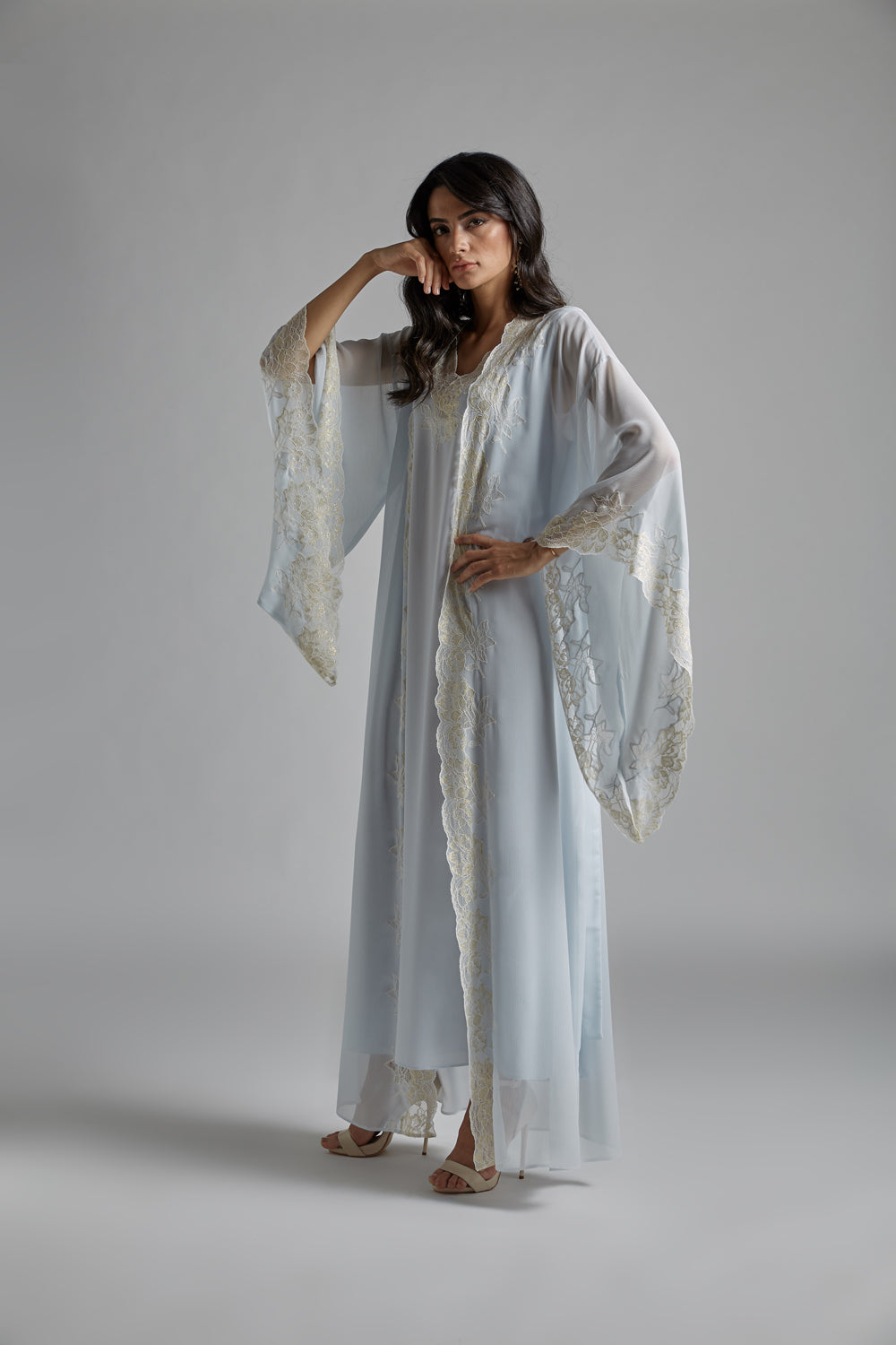 Silk Chiffon Baby Blue Robe Set - Claudia
