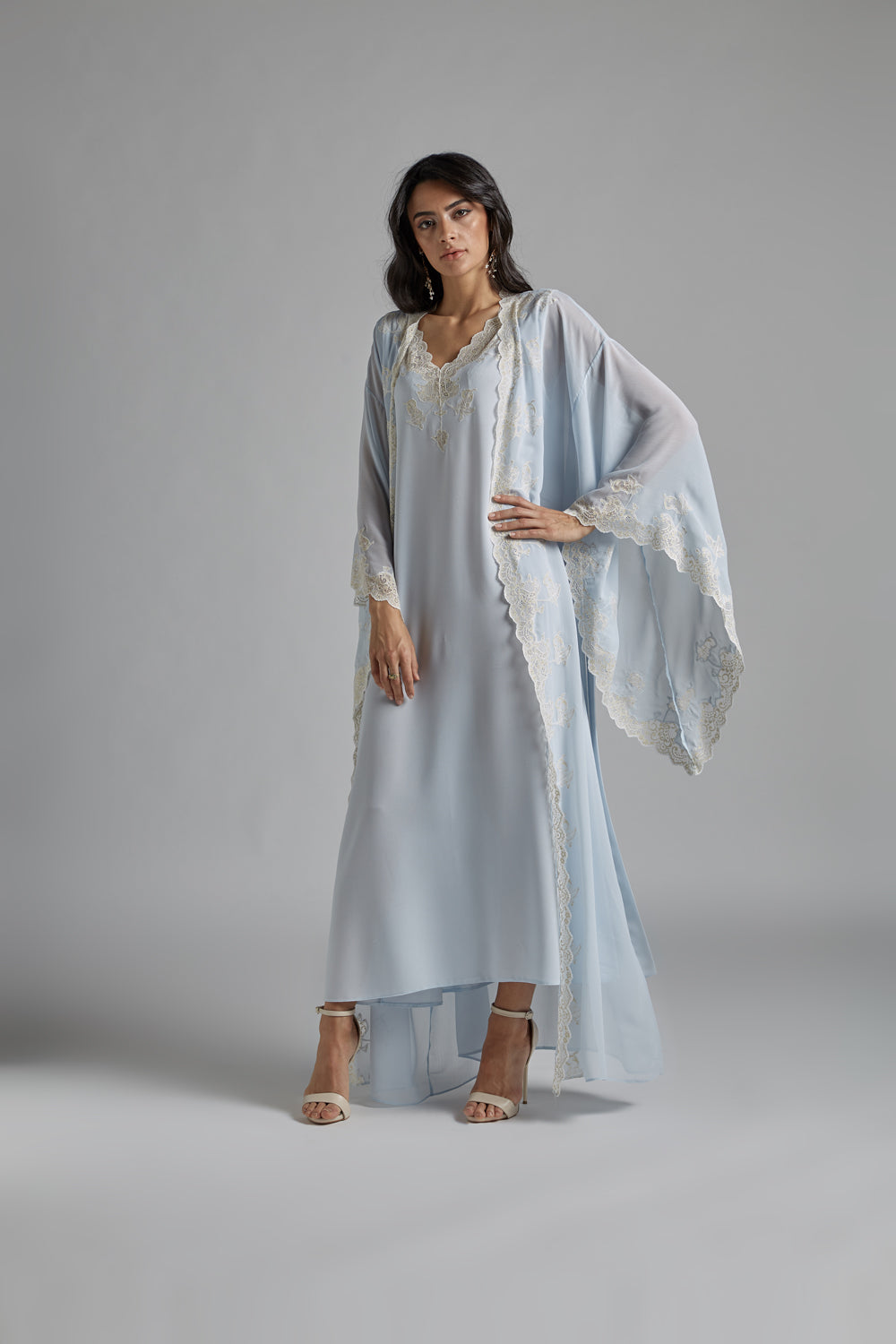 Silk Chiffon Baby Blue Robe Set - Tiera in Blue