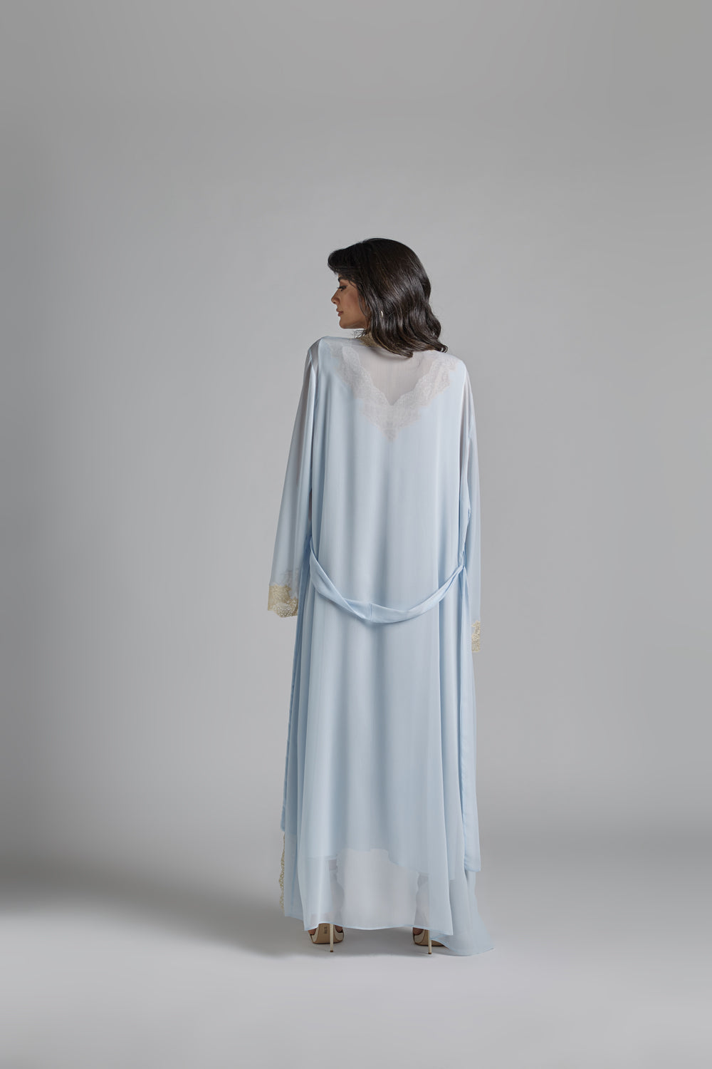 Silk Chiffon Baby Blue Robe Set - Bronzie